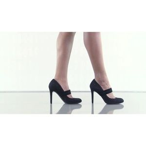 Black Suede Mary Jane Pumps